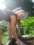 Kristin, working in the garden