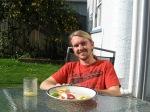 Lunch in the backyard, fresh lemonade