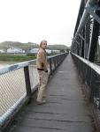 Crossing the train bridge in our neighborhood