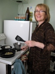 Deb, frying whitebait fritters